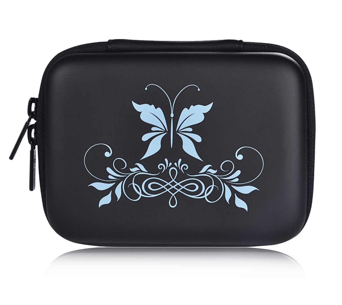 SHBC Essential Oil Case – storage carrying bag suitable for 5ml 10ml 15ml roller Bottles-portable Handle bag for travel and home-perfect for doTerra and Young Living Oil (10 bottles, Blue Butterfly) by SHBC (Image #1)