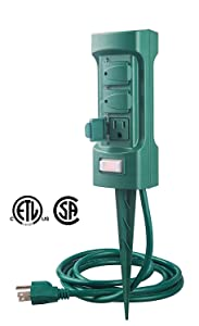 MaxWorks 80710 6-Outlet Double Sided Outdoor Power Stake with Covers-14 AWG x 3C-with Overload Protection-ETL Certified, 6 Ft. Green