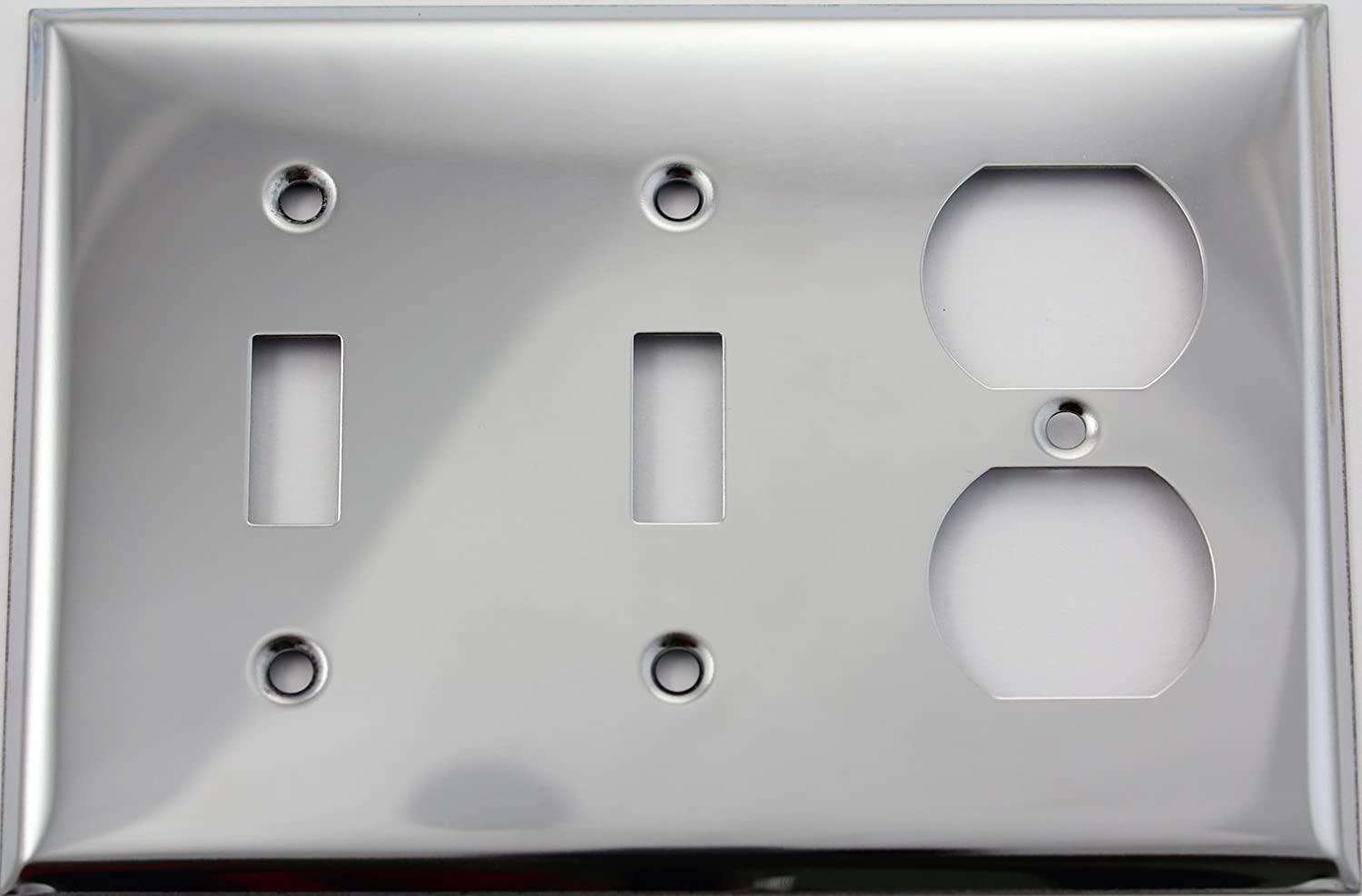 Polished Chrome Three Gang Wall Plate - Two Toggle Switches One ...