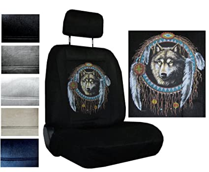 Seat Cover Connection Native Wolf Dreamcatcher Print 2 Low Back Bucket Car Truck SUV Covers