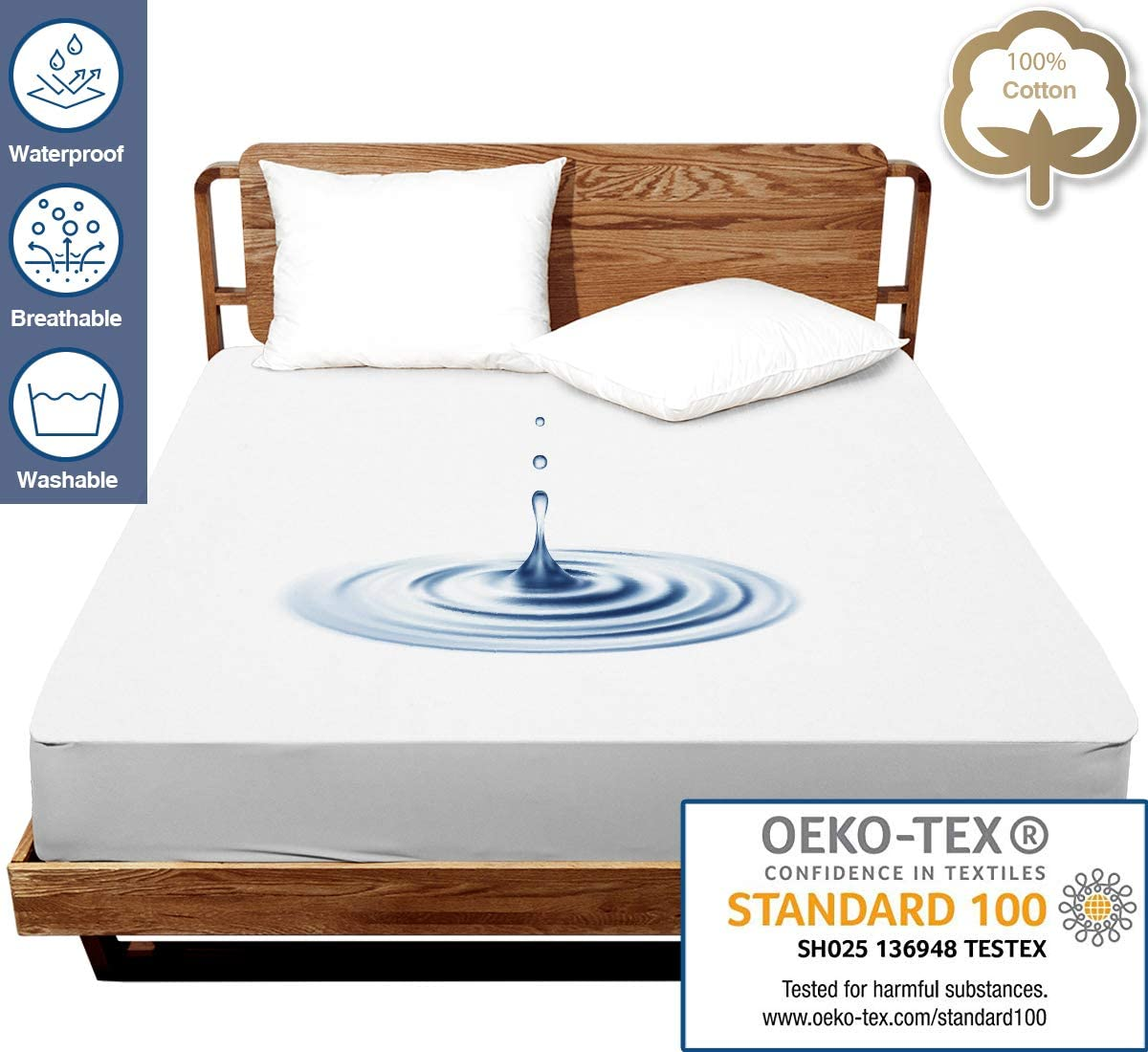 J JIMOO Twin Size Premium Waterproof Mattress Protector,Bed Cover Pad - Smooth - Breathable - Soften - (White, Twin 39''x75'')