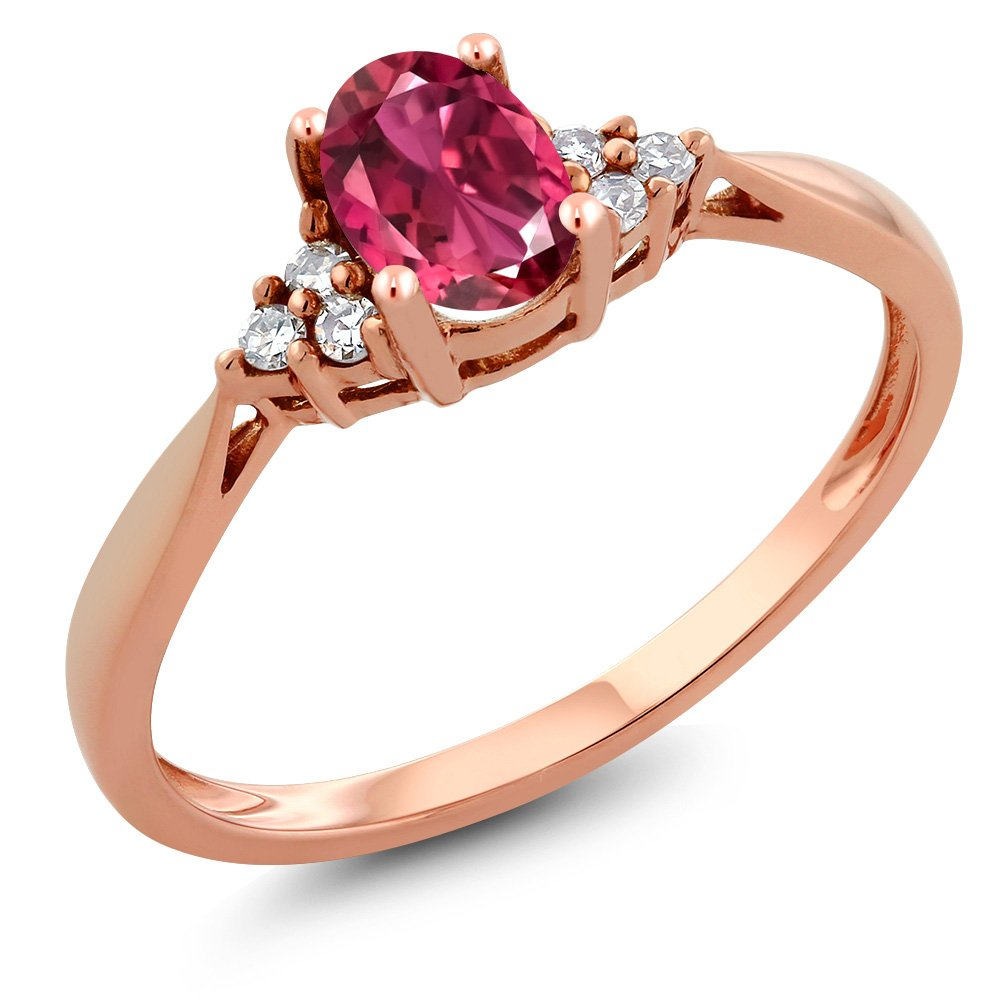 Gem Stone King Oval Pink Tourmaline AAA and Diamond 14K Rose Gold Women's Ring 0.38 cttw (Size 7) by Gem Stone King