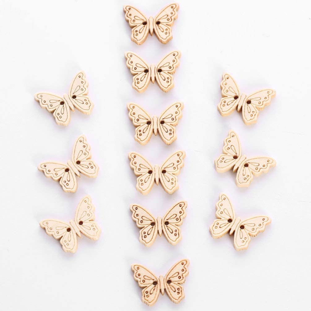 SUPVOX Botones de Madera Mariposa Costura Artesanal Hecho a Mano Mini Botones Scrapbooking Accesorios 24pcs
