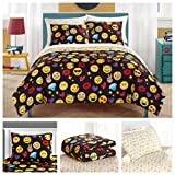Emoji Bed Sheets Full Size Emoji Complete 7 Piece Reversible Bedding Comforter Set - Full