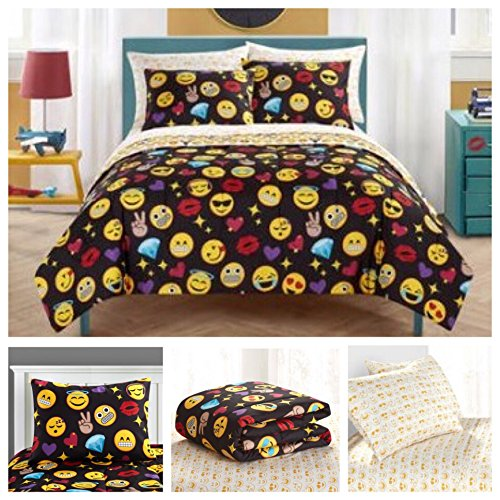 Emoji Complete 7 Piece Reversible Bedding Comforter Set - Full