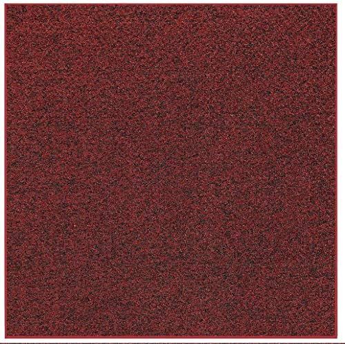 Home Queen Pet Friendly Indoor Outdoor Artificial Turf Loop Area Rugs with Heavy Duty Non Skip Backing Area Rug Burgundy – 12 Square