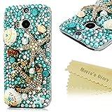 HTC One M8 Case,HTC M8 Case - Mavis's Diary 3D Handmade Luxury Blue Ocean Series Full Diamonds Bling Crystal Golden Anchor Starfish Cute Shells Design Clear Case Hard PC Cover