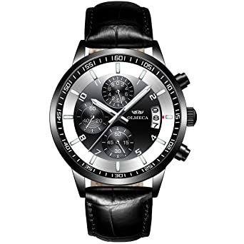 Mens Watches Luxury Sports Casual Quartz Wristwatches Waterproof Chronograph Calendar Date Leather Strap Black Color 902