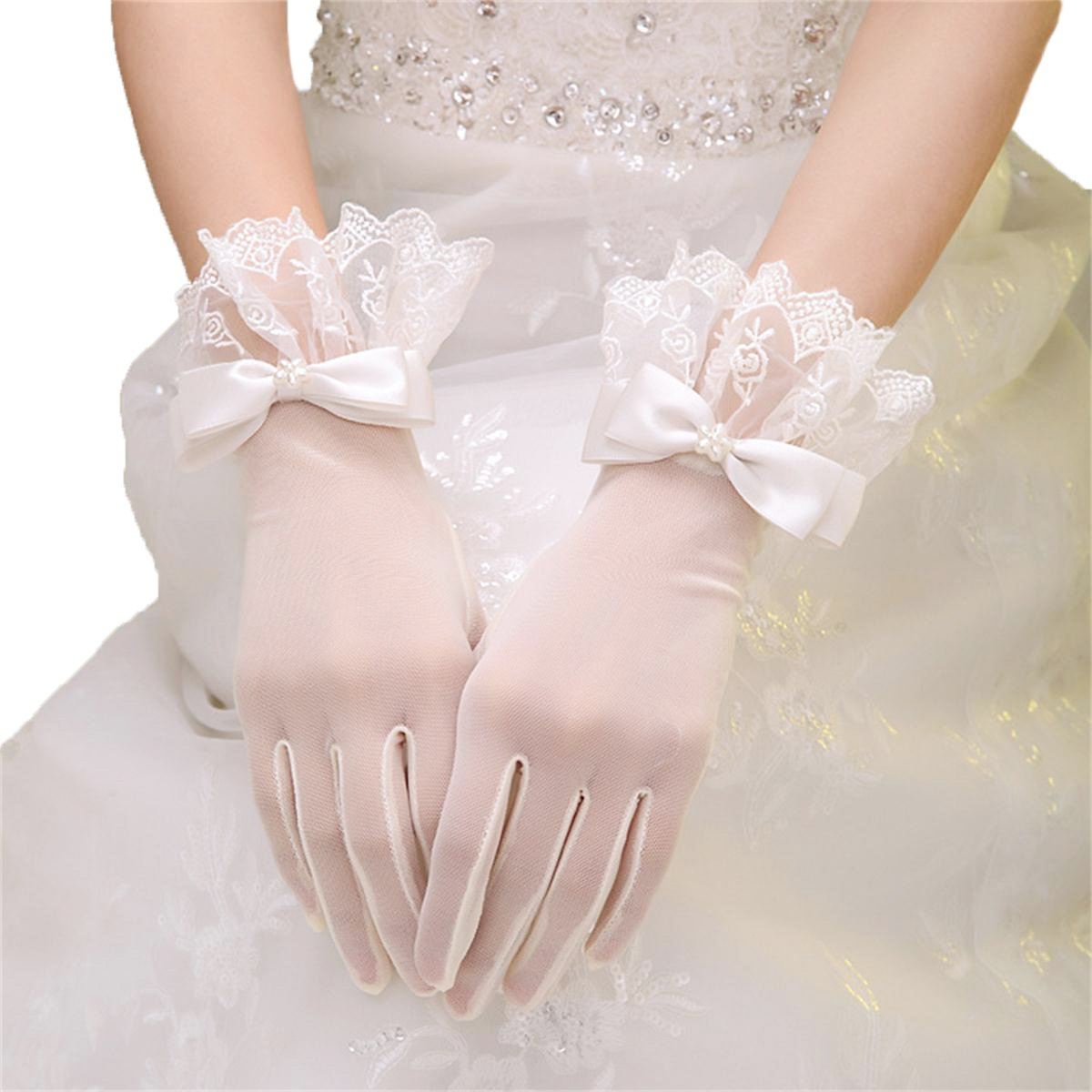 Lace Short Wedding Bride Gloves UV Protection Wrist Length for Party