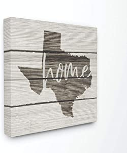 Stupell Industries Texas Home Typography Map Canvas Wall Art, 17 x 17, Design by Artist Daphne Polselli