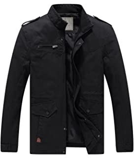 2cd3c0c6da5 WenVen Men s Lightweight Windbreaker Stand Collar Jackets Multi-Pocket Casual  Coat