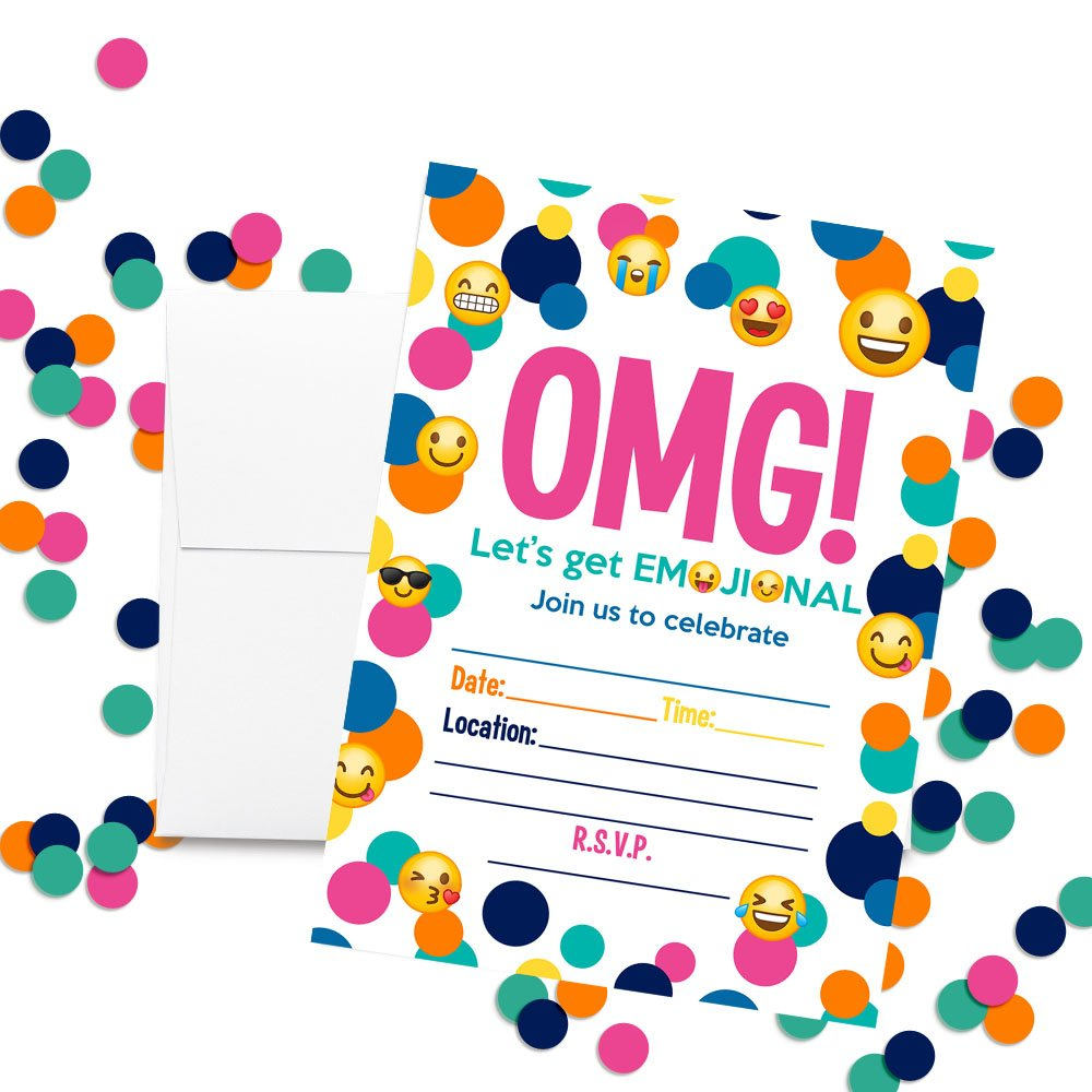 20 5x7 Fill in Cards with Twenty White Envelopes by AmandaCreation 20 5x7 Fill in Cards with Twenty White Envelopes by AmandaCreation Amanda Creation Emoji Birthday Party Invitations