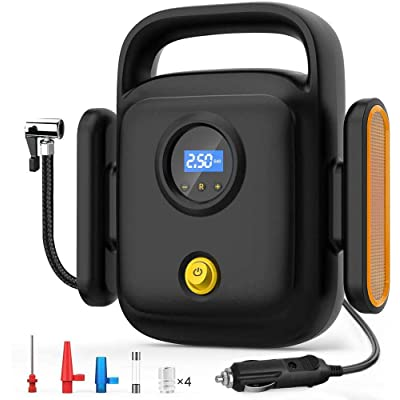 Directtyteam Portable Air Tire Inflator,Digital Air Compressor for Car Tires,Tire Pump with Auto/Shut Off Feature (Black): Automotive