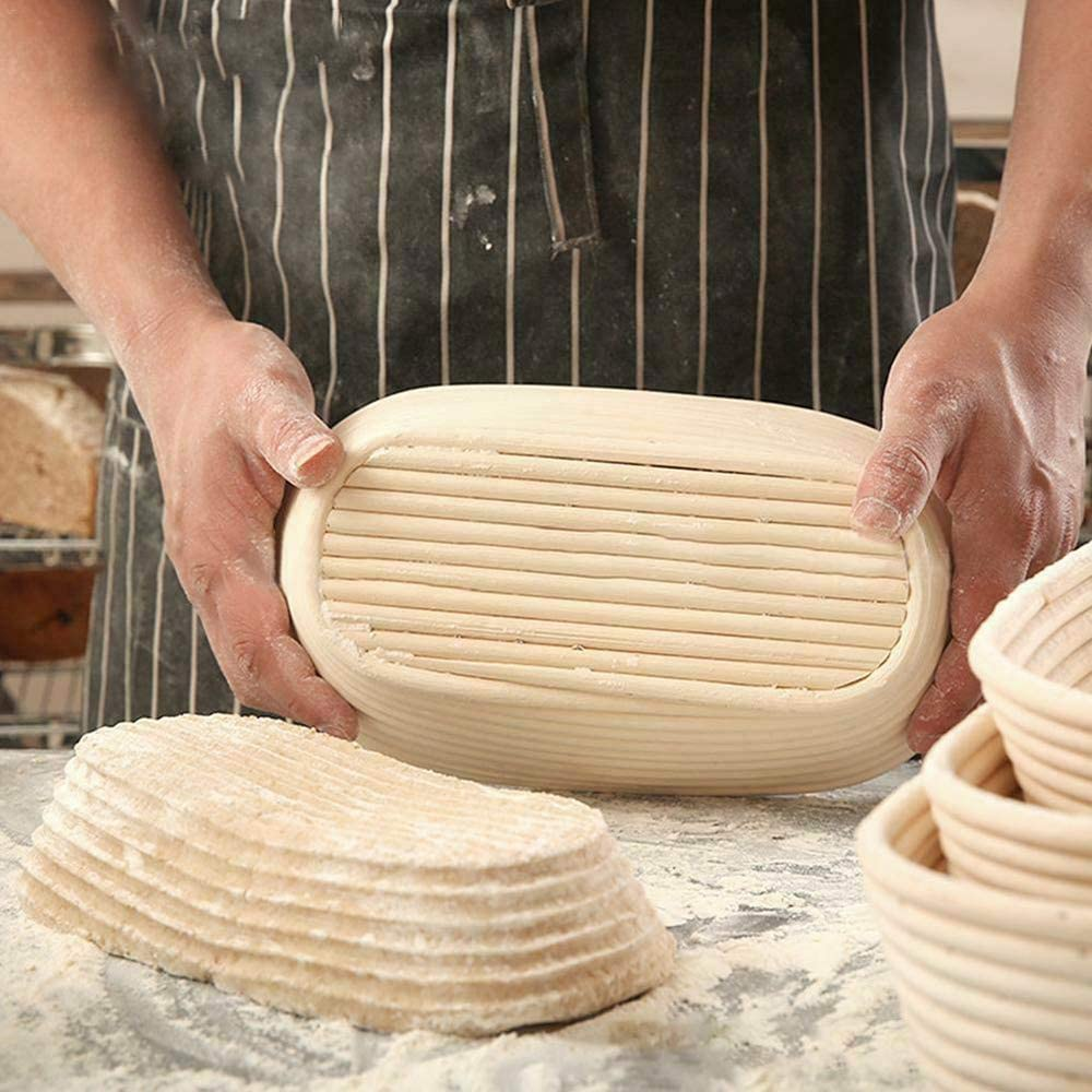 with Linen Liner Size 30x14x7cm//11.8x5.5x2.7inch Hold 1500g Dough Rattan Banneton Brotform CHIMO 1x Oval Bread Proving Basket