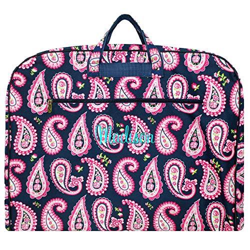 Monogrammed Pink Paisley Garment Clothes Bag