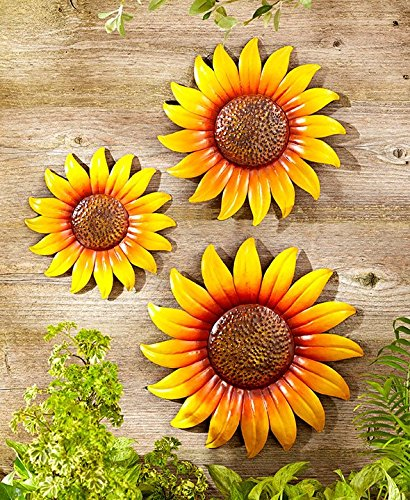 Set of 3 Hanging Metal Plaque Wall Sunflowers (Set of 3 Sunflowers) (Sunflower Metal Wall Art)