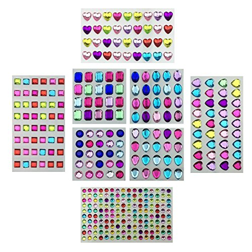 Jewels Octagon (Hyamass 8 Sheets (365 Jewels) Assorted Color Self-adhesive Mix Shapes Rhinestone Jewels Crystal Gem Stickers Sheets for DIY Crafts Decoration Embellishment)