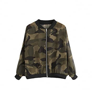 494d343f68ae4 Ladies Coat Army Green Camouflage Print Chiffon Stand Collar Long Sleeve  Zipper Front Jacket