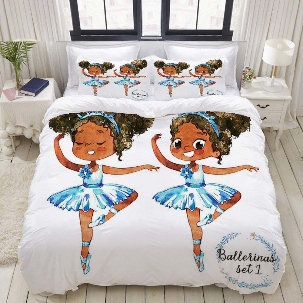 "GLONLY 3pcs Set,African American Black Girl Ballerina Princess Afro American Teen Girl Gymnastic Ballet Dancer,Latest Style Zippered Duvet Cover & 2 Pillow Shams, Soft Microfiber Quilt Cover 88"" 88"""