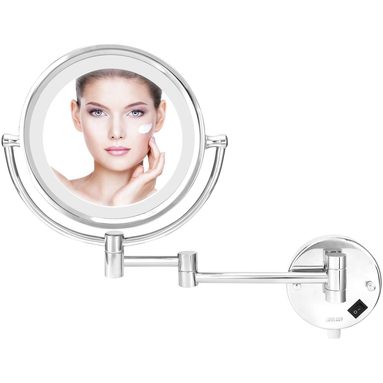 Lighted Makeup Mirror, Wall Mount Mirror , Wall Vanity Mirror with 8.5- Inch, 1x/10x Magnification for Makeup, Shaving in Bedroom or Bathroom, Chrome by COOLGUY