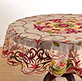Fennco Styles Elegant Embroidered Floral Woven Tablecloth - Multicolor, 72'' Round