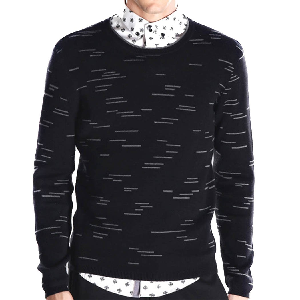 PUSITE Men's Crew Sweater Jumper Pullover Jacquard Fine Gauge Black M