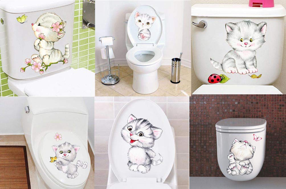 BIBITIME A Set (6 PCS) Cats Vinyl Stickers for Bathroom Toilet Cover Lid Flower Butterfly Ladybug Cat Animal Wall Decals Baby Infants Toddlers Nursery Bedroom Children Kids Room Decor Home Art PVC