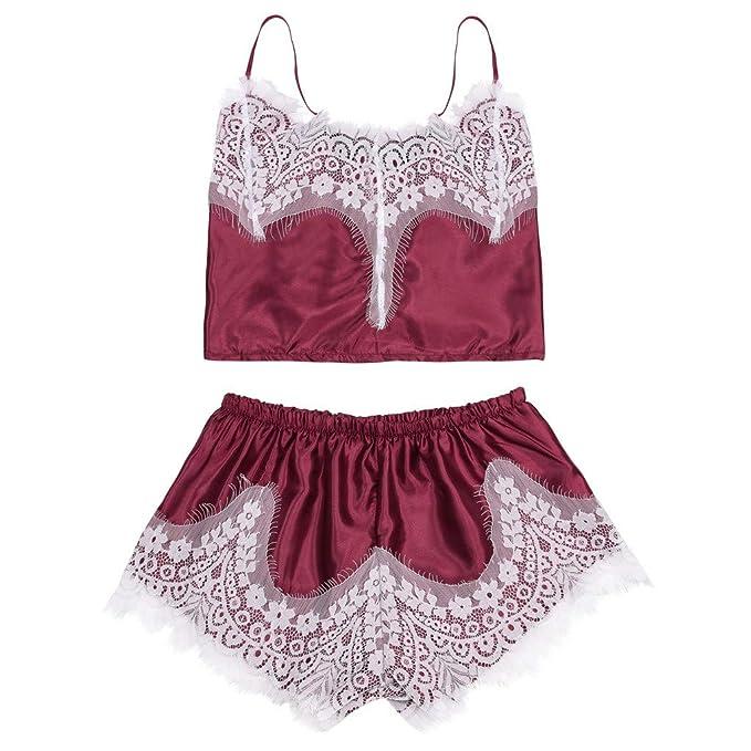 TIFIY Pijamas Sexy Mujer Conjuntos Nuevo 2019 Moda Suelta Ropa de Interior Honda Chaleco Corto/Shorts Encaje Borde Lenceria Erótica Sexy Mujer Conjuntos: ...