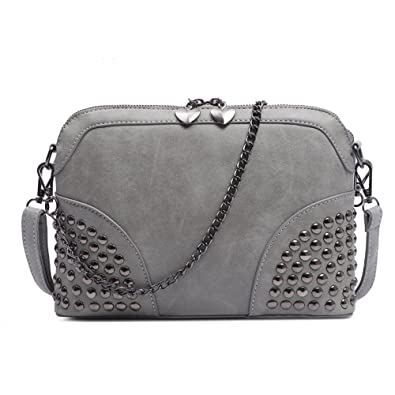 c647394c6896 Women Mini Crossbody Messenger Purse Vintage Shell Handbag Casual Shoulder  Bag with Chain Strap (Gray