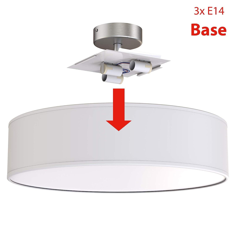 /Ø 40cm Stoff Briloner Leuchten Deckenleuchte Stoffschirm Farbe: Wei/ß-Satin Deckenlampe 3 x E14 max Stoffleuchte W 40 Watt