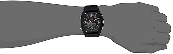 Amazon.com : Hombres US9052 Analógico-Digital Negro Dial Negro correa de caucho reloj : Sports & Outdoors