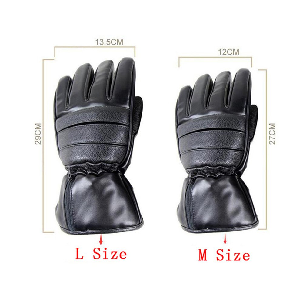 GOODKSSOP 1 Pair PU Leather Windproof Winter Ski Outdoor Work Warmer Gloves Cycling Motorcycle Bicycle Electric Heated Hands Glove with 3000mAh Rechargeable Battery (Black, M) by GOODKSSOP (Image #3)