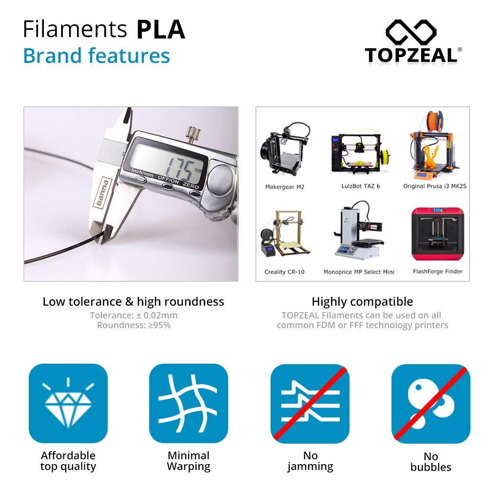 0.02mm PLA Transparent 3D Printing Materials Transparent Color TOPZEAL 3D Plastic Filament PLA Filament 1.75mm 1KG Dimensional Accuracy //