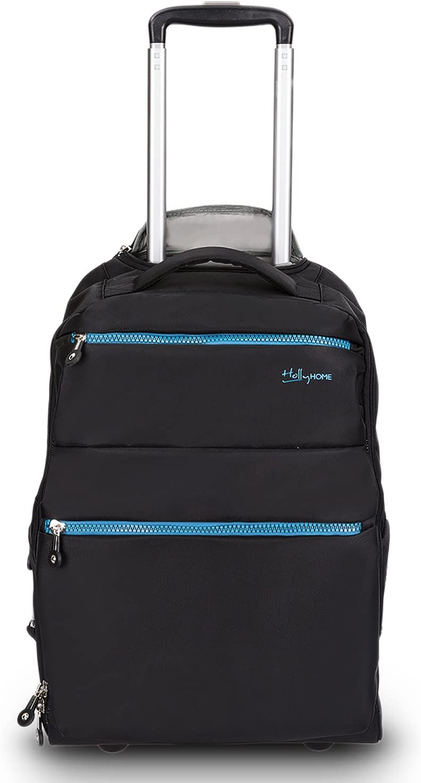 20 inches Large Storage Multifunction Waterproof Travel Wheeled Rolling Laptop Backpack Luggage, Black
