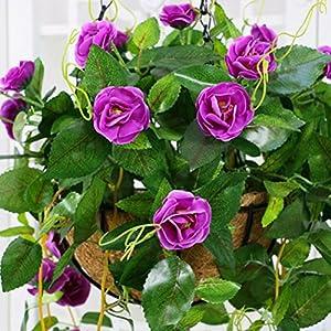 XHSP Artificial Rose Vine Silk Flower Garland Hanging Basket Decorative Plant Home Outdoor Wedding Arch Garden Wall Decor 2