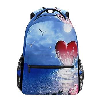 d2c20efc9751 Amazon.com   Women/Man Canvas Backpack Pink Rose Heart Seabird ...
