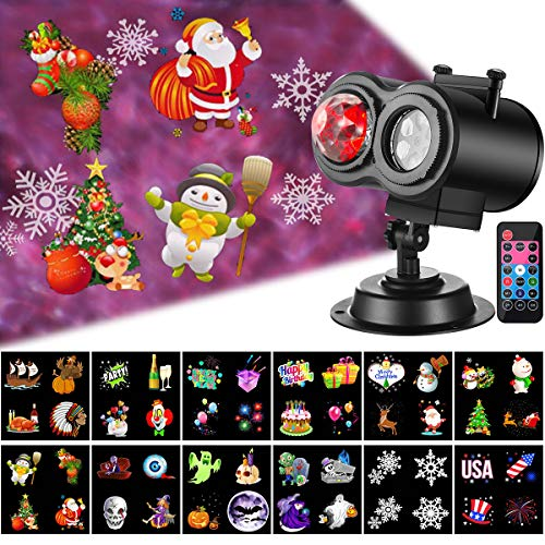 Christmas Projector Lights with Ocean Wave Outdoor Holiday Decorations,Halloween Led Projector Lights 2-in-1 Moving Patterns and Flowing Water Ripple,12 Slides Waterproof Xmas Snow Light Party Garden -