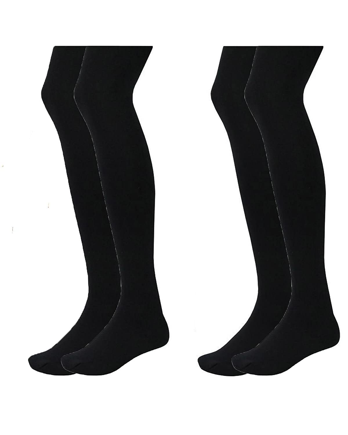 NEW KIDS GIRLS BLACK HEAT INSULATING THERMAL FLEECE LINED WARM 2 PACK TIGHTS