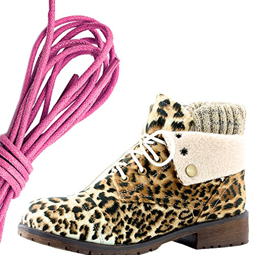 DailyShoes Womens Combat Style Lace Up Sweater Top Ankle Bootie With Pocket for Credit Card Knife Money Wallet Pocket Boots, Pink Camel Leopard Sv