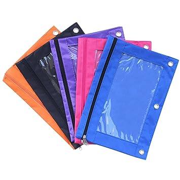 meetory 5 x con cremallera lápiz bolsa con 3 remaches enforced agujeros para la escuela 3 ring binders: Amazon.es: Oficina y papelería