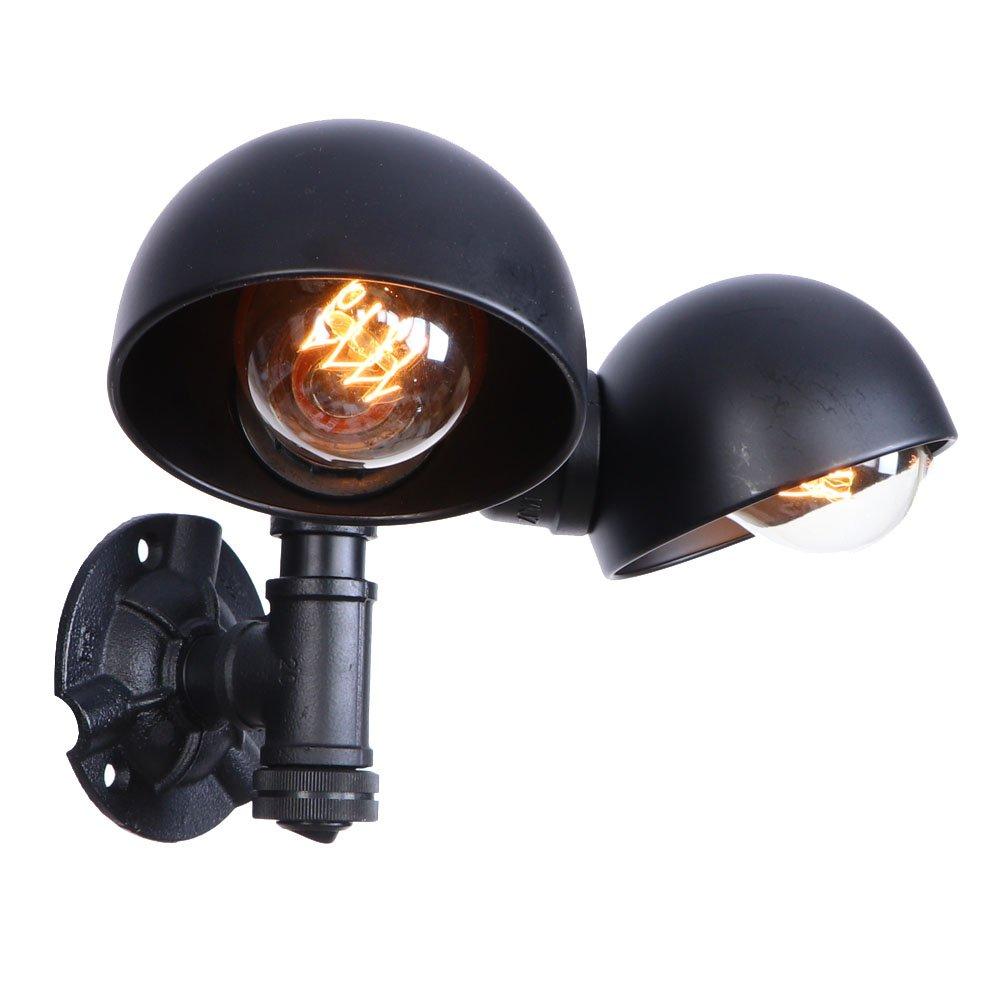 HYYK 屋内鋼管壁ランプ、2ヘッド鋼管壁ライトレトロ錬鉄製壁ウォッシュランプE27電球ベッドサイドベッドルーム照明110-240ボルト, BLACK B07S34F6TN