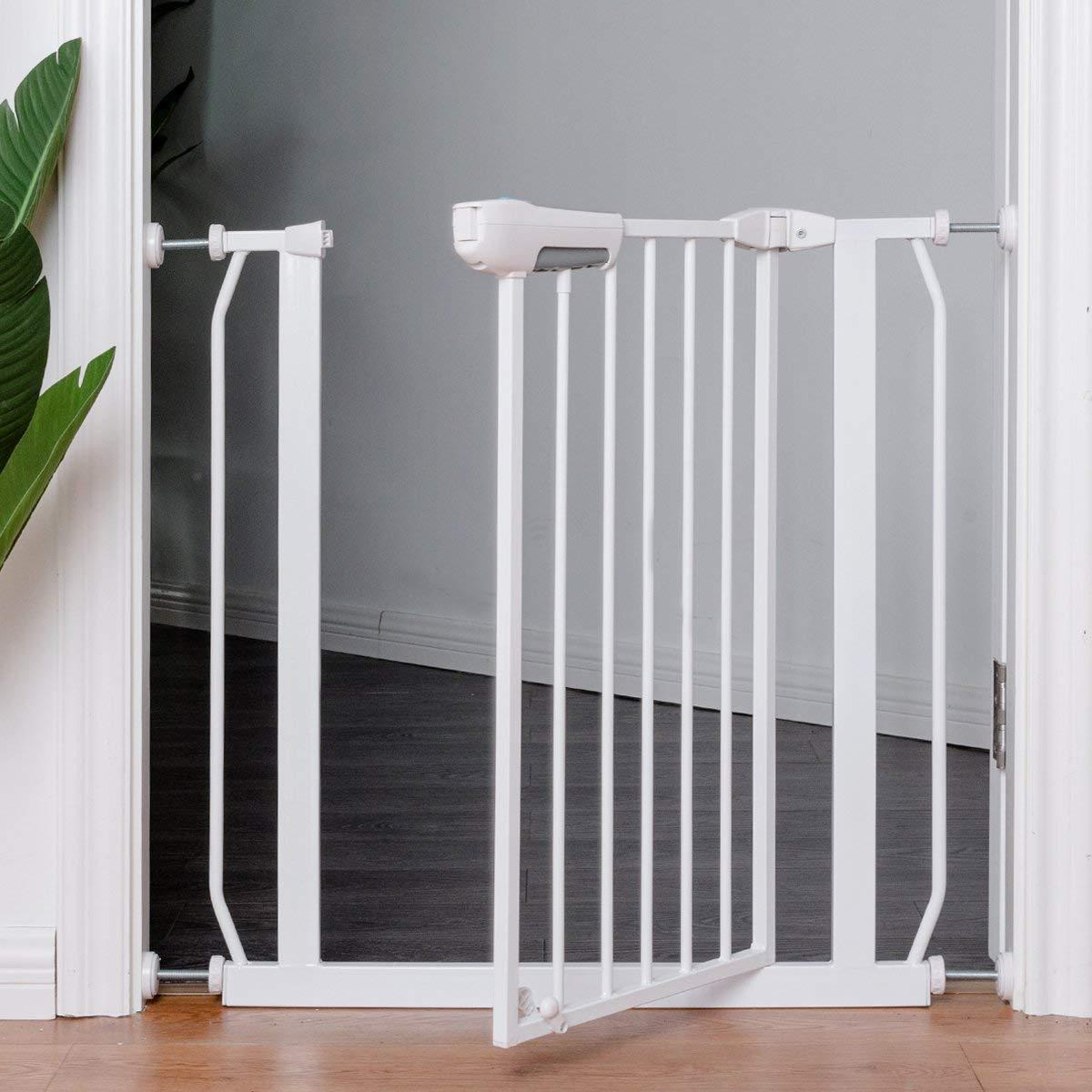 White Easy Close Walk Through Gate Costzon Baby Safety Gate