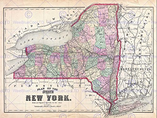 1873 BEERS MAP NEW YORK STATE VINTAGE POSTER ART PRINT 12x16 inch 30x40cm 2959PY - New York State Map
