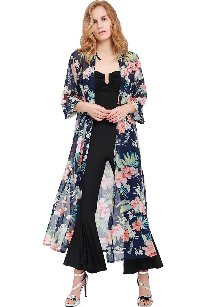 MissShorthair Women Floral Chiffon Kimono Cardigans Long Sheer CoverUps