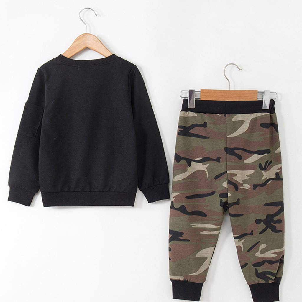 2-7Years,Zimuuy Toddler Kids Baby Boys Camouflage T-Shirt Tops Sweatshirt+Long Pants Set Outfits Clothes