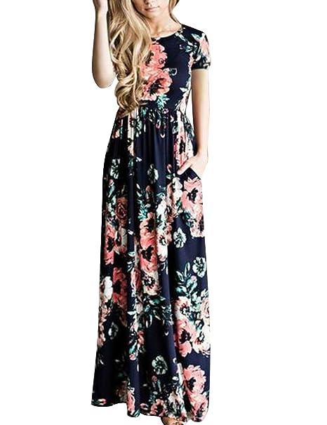 a69cd865016c DANALA Women Summer Bohemian Short Sleeve Floral Printed Long Maxi Dress  High Waist Navy Blue Size L at Amazon Women's Clothing store: