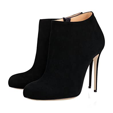 cfb55a69ea27c VOCOSI Women's Round Toe Suede Black Ankle Boots High Heels Classic Dress  Booties Suede-Black