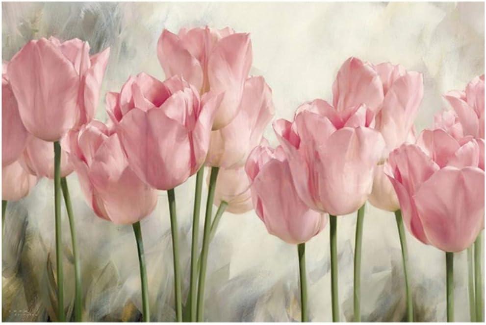 HSFFBHFBH Cuadro en Lienzo Cartel de Flor de tulipán Rosa Cartel Impreso y Estampados Pintura Arte de la Pared Decoración de Imagen para Sala de Estar 30x60cm (11.8