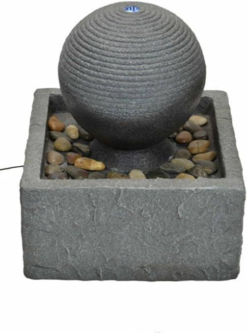 Fuente de Agua Decorativa de Diseño Moderno para Exterior con Luz. Esculturas Resina. Adornos Jardín. 43 x 43 x 60 cm.: Amazon.es: Hogar