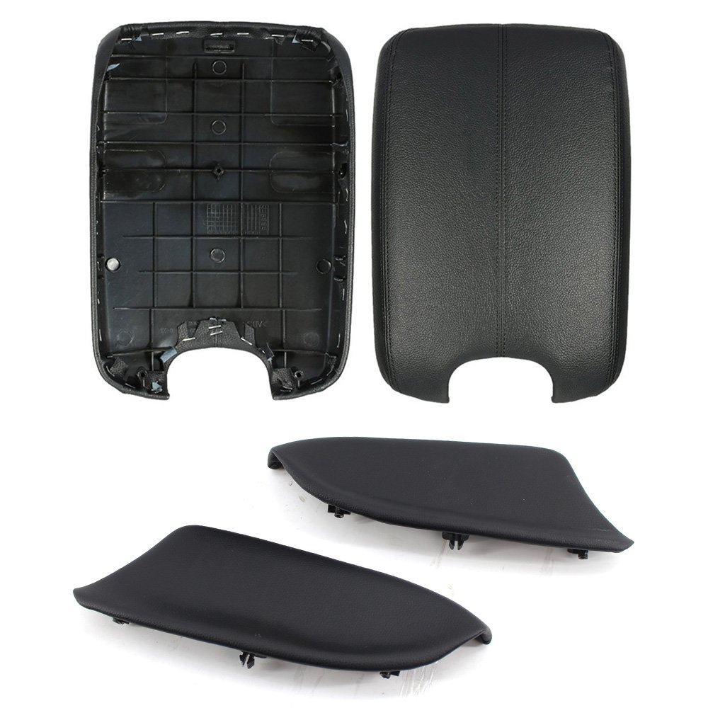 Arotom Black Console Armrest Lid Cover + Door Panel Armrest for Honda Accord 2008-2012 with Base Plate